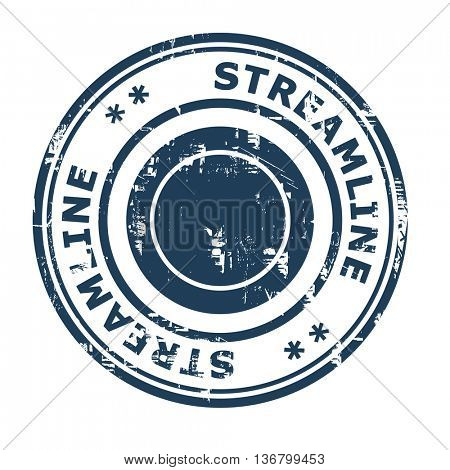 Streamline business concept rubber stamp isolated on a white background.