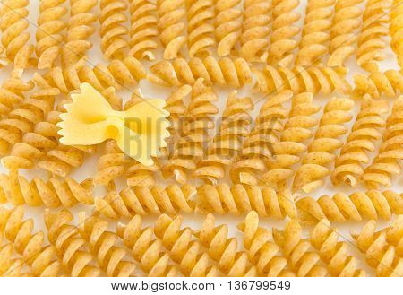 Bunch Of Sprial Golden Colored Macaroni Pasta