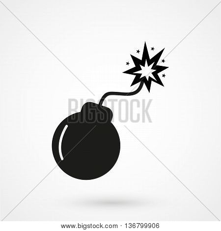Bomb Icon On White Background In Flat Style. Simple Vector