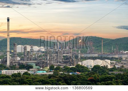 Oil refinery industry or petrochemical refinery industry in industriy estate at night