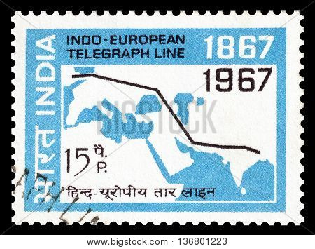 INDIA - CIRCA 1967 : Cancelled postage stamp printed by India, that shows Indo European telegraph line.
