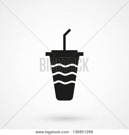 Soft Drink Icon On White Background In Flat Style. Simple Vector