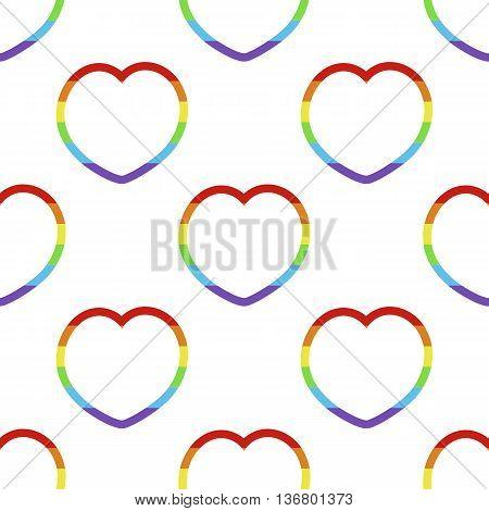Lgbt rainbow heart shape seamless pattern. Vector illustration.