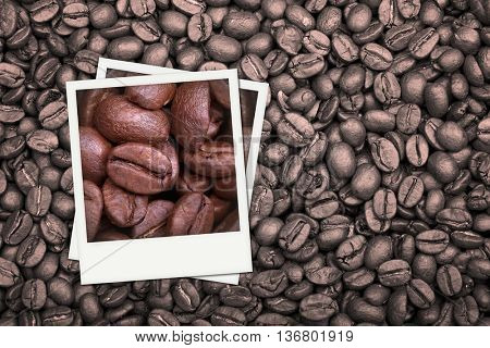 A background of monotone coffee beans with colour photos of additional coffee beans in closeup.