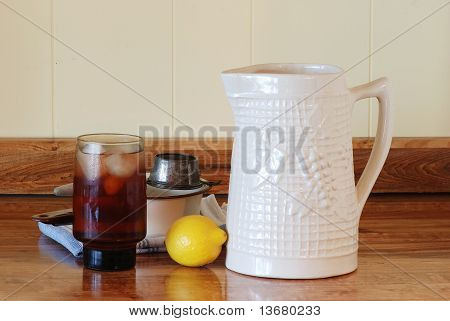 Iced Tea And Old Pitcher
