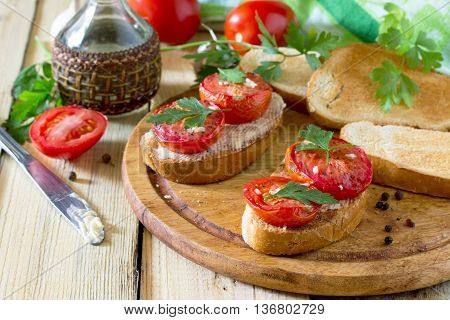 Italian Tomato Bruschetta With Sun Dried Tomatoes, Herbs And Butter Grilled Or Fried Crispy Ciabatta