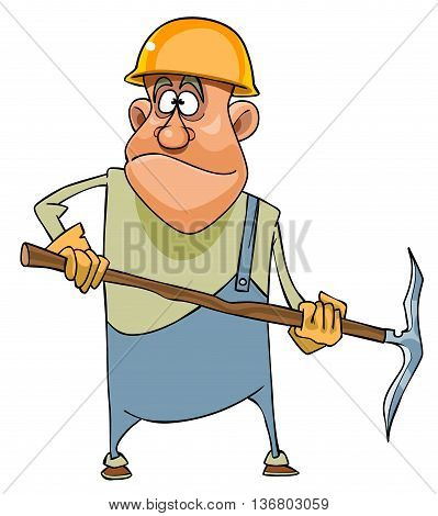 Cartoon man working in a helmet and with pick