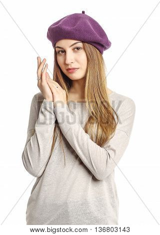 Portrait Of Woman On White Background Wearing Headwear