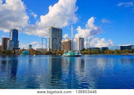 Orlando skyline from lake Eola in Florida USA