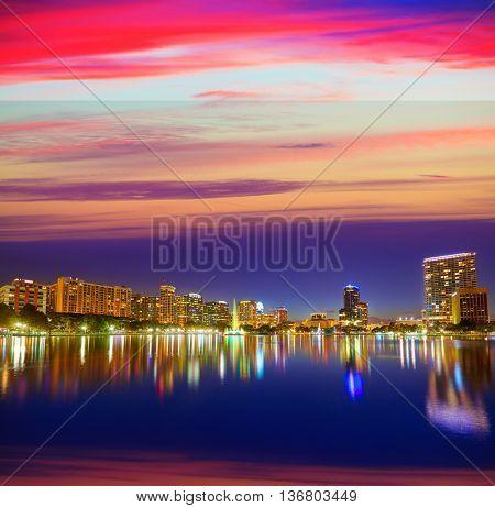 Orlando skyline sunset at lake Eola in Florida USA