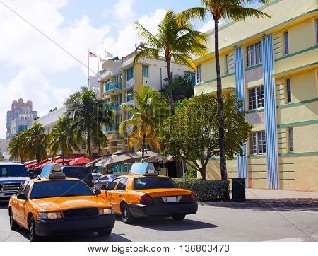 Miami Beach Ocean boulevard Art Deco district in florida USA yellow cab