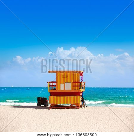 Miami beach baywatch tower in south beach of Florida USA