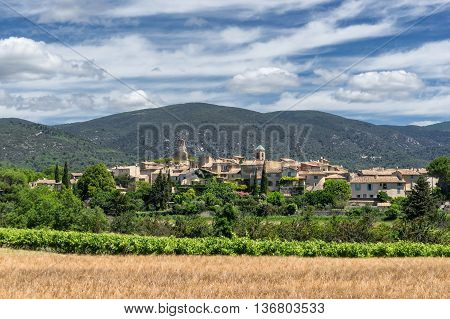 The the hill top village of Lourmarin in the Luberon Provence