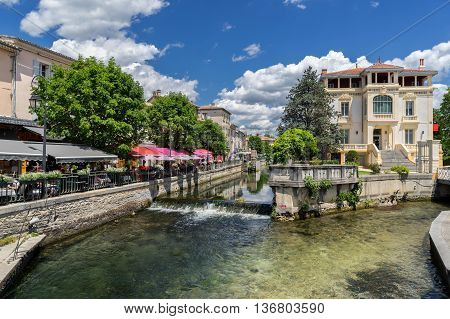 The town of Isle sur le Sorgue in Provence France