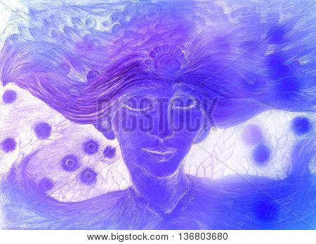 gentle lila wind fairy elven man, illustration.