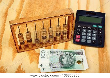 Polish Money, Calculator And Old Abacus