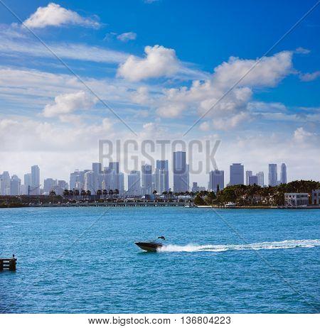 Miami downtown mist foggy skyline from Miami Beach in Florida USA