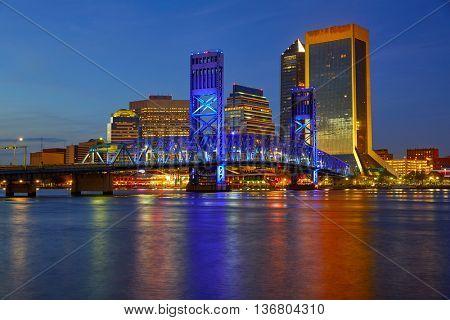 Jacksonville skyline sunset river reflection in Florida USA