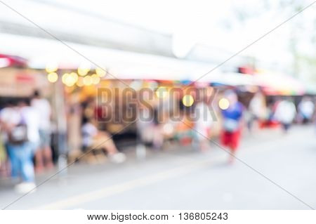 Blurred Background : People Shopping At Market Fair In Sunny Day, Blur Background With Bokeh