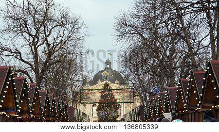 Christmas Market near the Opera House in Lviv