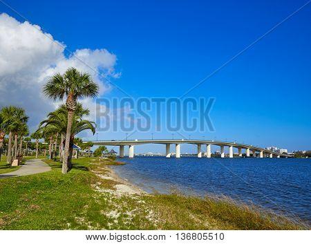 Daytona Beach Halifax river in Florida bridge and park USA