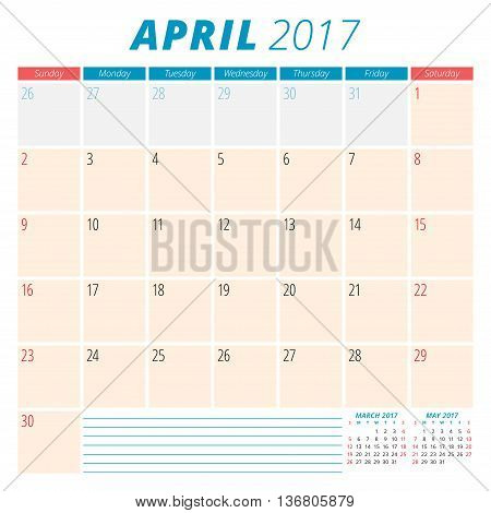 April 2017. Calendar Planner For 2017 Year. Week Starts Sunday. Stationery Design. 3 Months On Page.