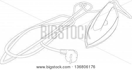 3D illustration of a smoothing-iron, isolated on white background