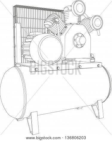 3D illustration air compressor, isolated on white background