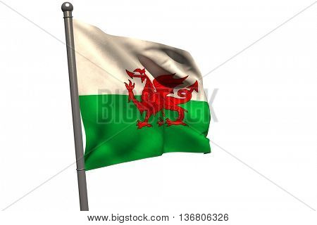 Pole with Wales flag against white background