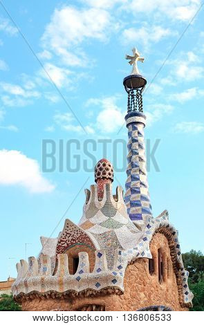 BARCELONA SPAIN - JULY 12 2014: Park Guell in Barcelona Catalonia Spain. It was designed by the Catalan architect Antoni Gaudi. It is part of the UNESCO World Heritage Site