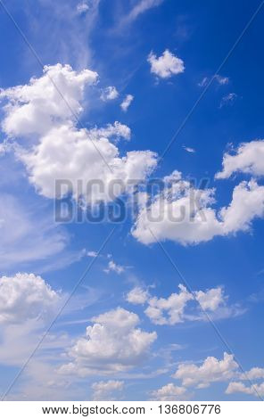 Blue sky background with tiny clouds. Beautiful clouds on blue sky