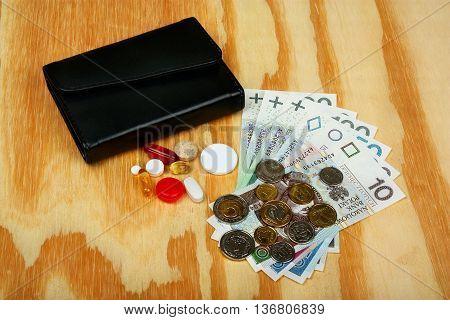 Polish Money, Wallet And Medical Pill