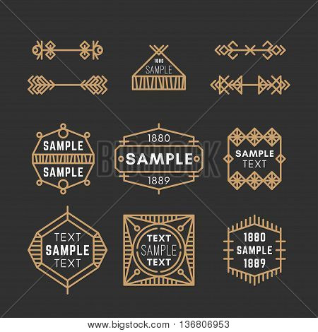 Set Of Line Art Decorative Geometric Vector Frames And Borders With Golden And Black Colors. Vector