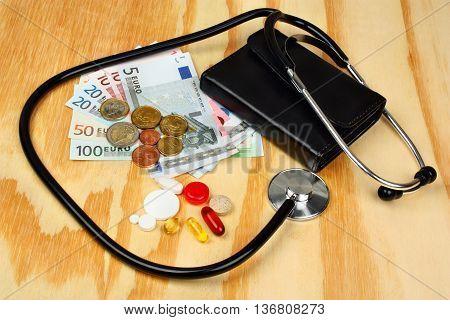 Stethoscope And Euro Money