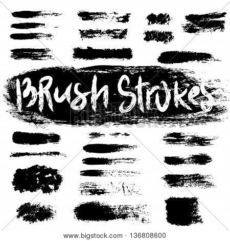 Grunge brush strokes set. Black hatches isolated on white background.