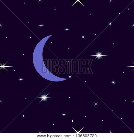 Celestial seamless background with sparkling stars glittering on a dark blue sky in the night. with the moon, crescent moon