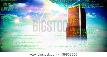 Blue programme against composite image of server tower