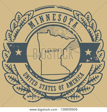 Grunge rubber stamp with name and map of Minnesota, USA, vector illustration