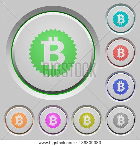 Set of color Bitcoin sticker sunk push buttons.