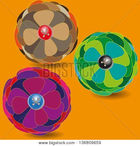Three balls of flower vector illustration Vector illustration of three flower fluffy ball on an orange background for decoration and design