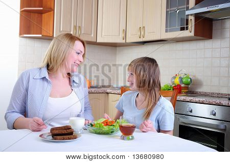 Mom and young daughter