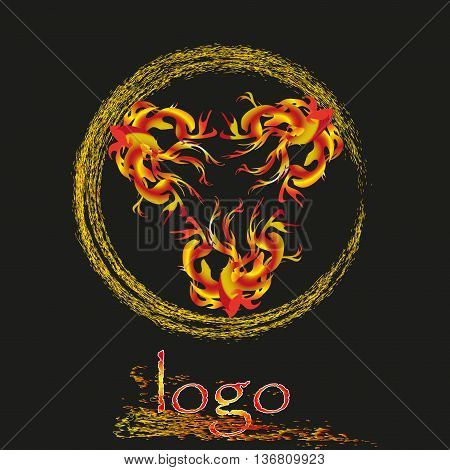 Flames and sparks logo vector illustration Vector illustration of flames and sparks logo on a black background for decoration and design