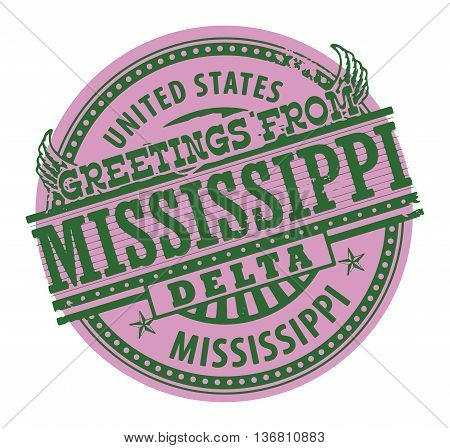 Grunge color stamp with text Greetings from Mississippi Delta, vector illustration