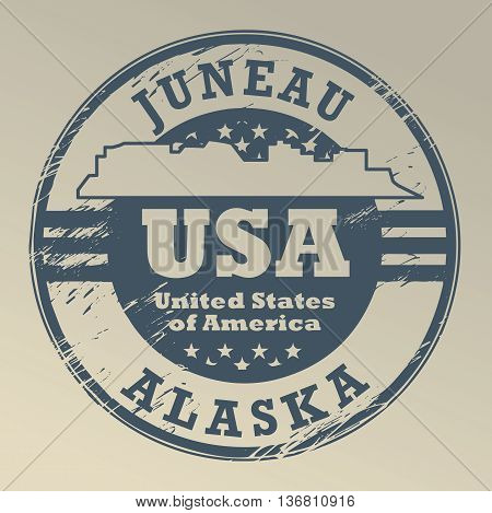 Grunge rubber stamp with name of Alaska, Juneau, vector illustration