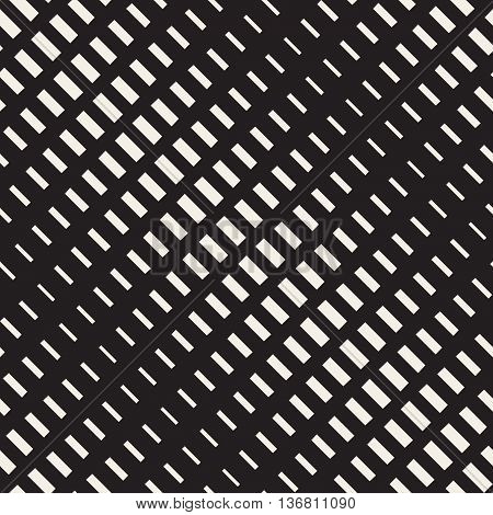 Vector Seamless Black and White Rectangle Halftone Diagonal Transition Geometric Pattern. Abstract Geometric Background Design