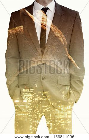 double exposure of businessman wolf and cityscape at night