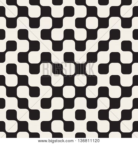 Vector Seamless Black and White Irregular Checker Grid Geometric Pattern. Abstract Geometric Background Design