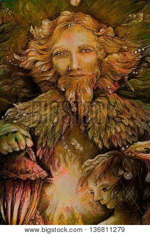 sunny dwarf forest quardian with lantern, fairy illustration.