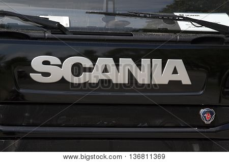 paris france-june 12 2016: letters scania on a truck in paris