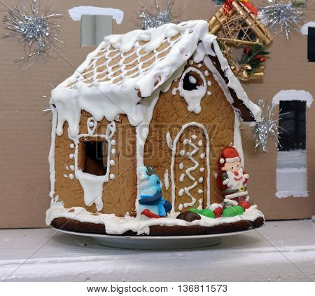 Gingerbread house made by children for the holiday